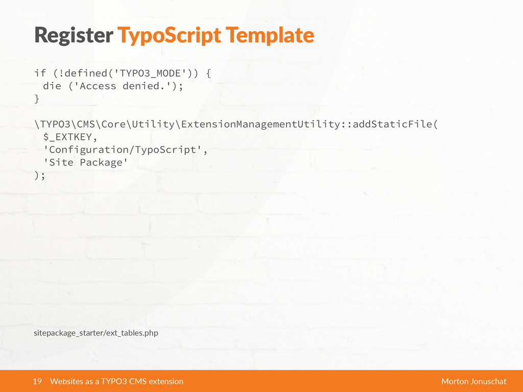 Register  TypoScript  Template if (!defined('TY...