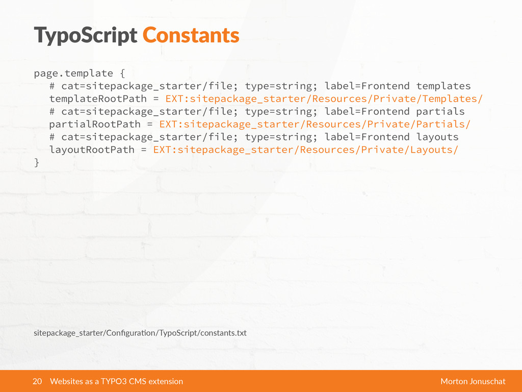 TypoScript Constants page.template { # cat=sit...