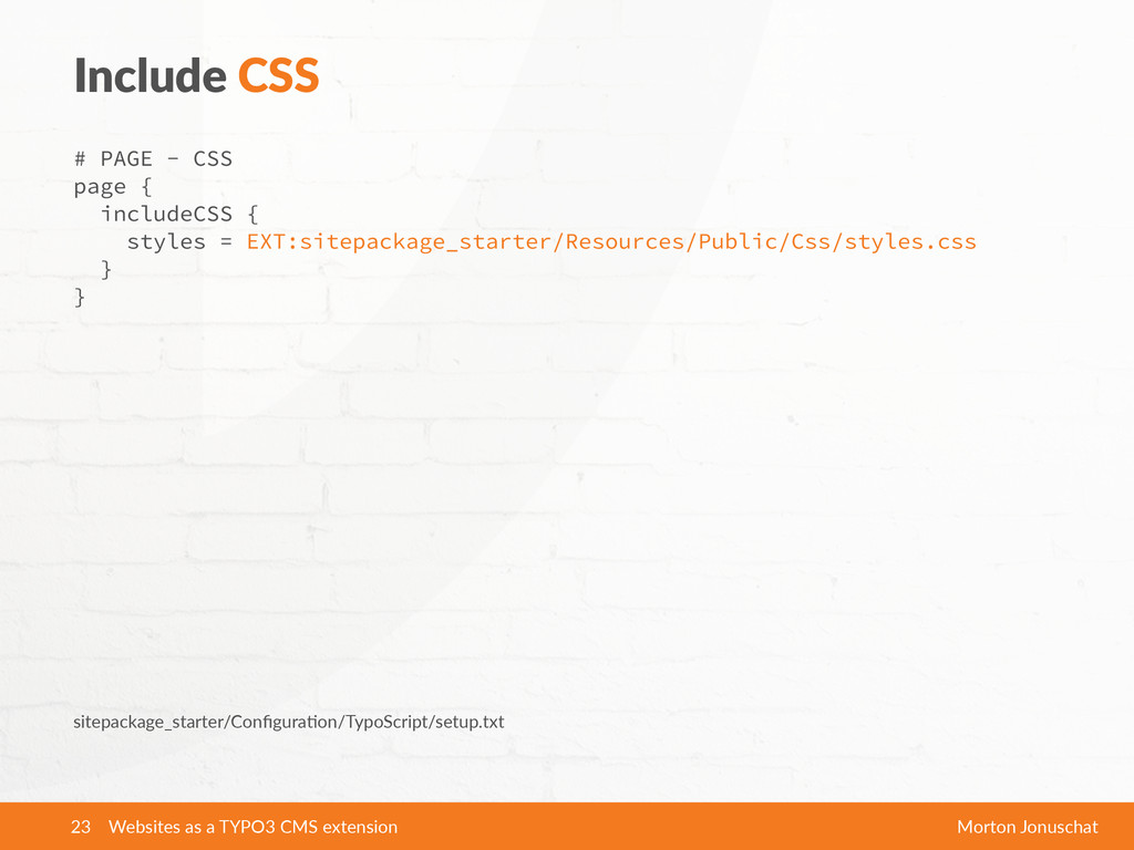 Include  CSS # PAGE - CSS page {