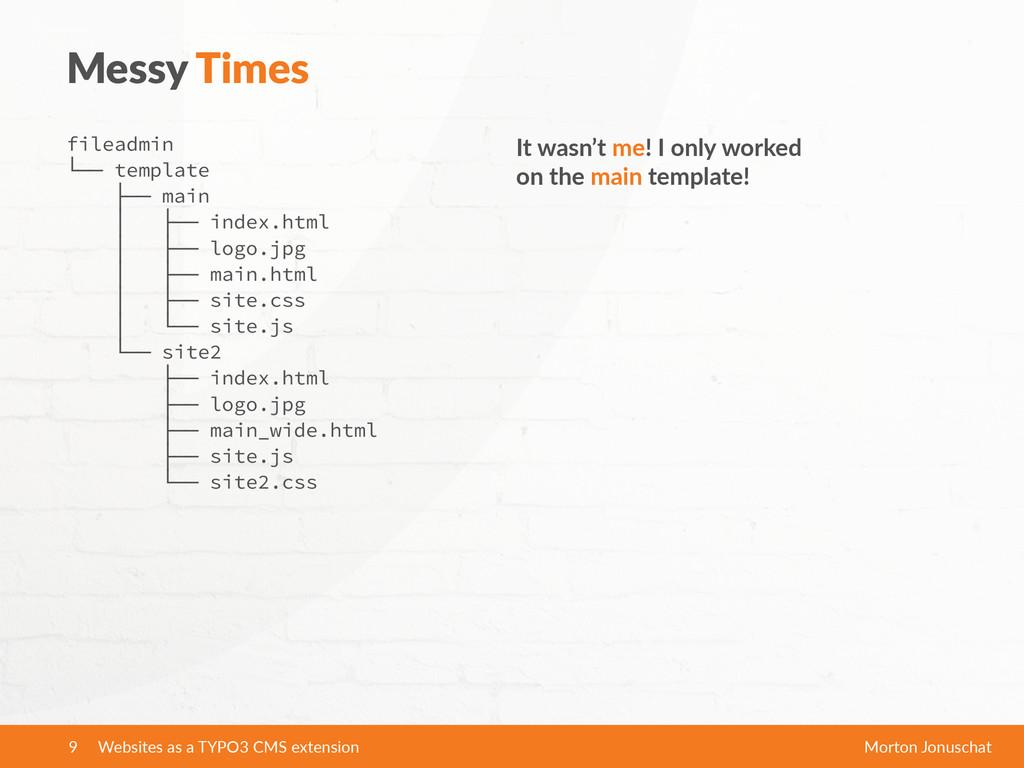 Messy Times fileadmin └── template ├── main │ ...