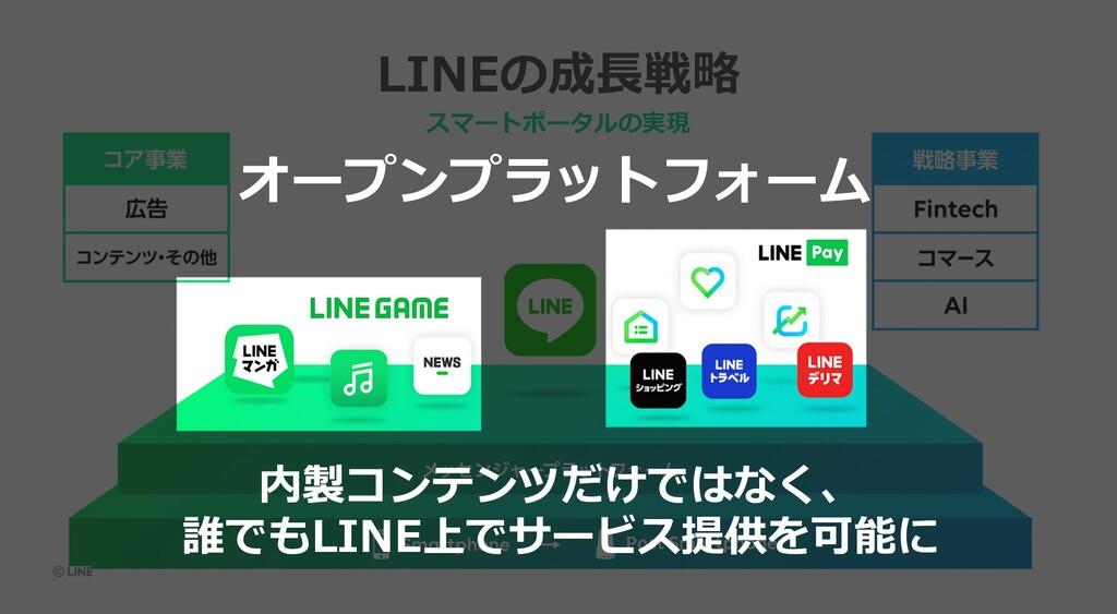 LINEの成⻑戦略 スマートポータルの実現 オープンプラットフォーム 内製コンテンツだけではな...