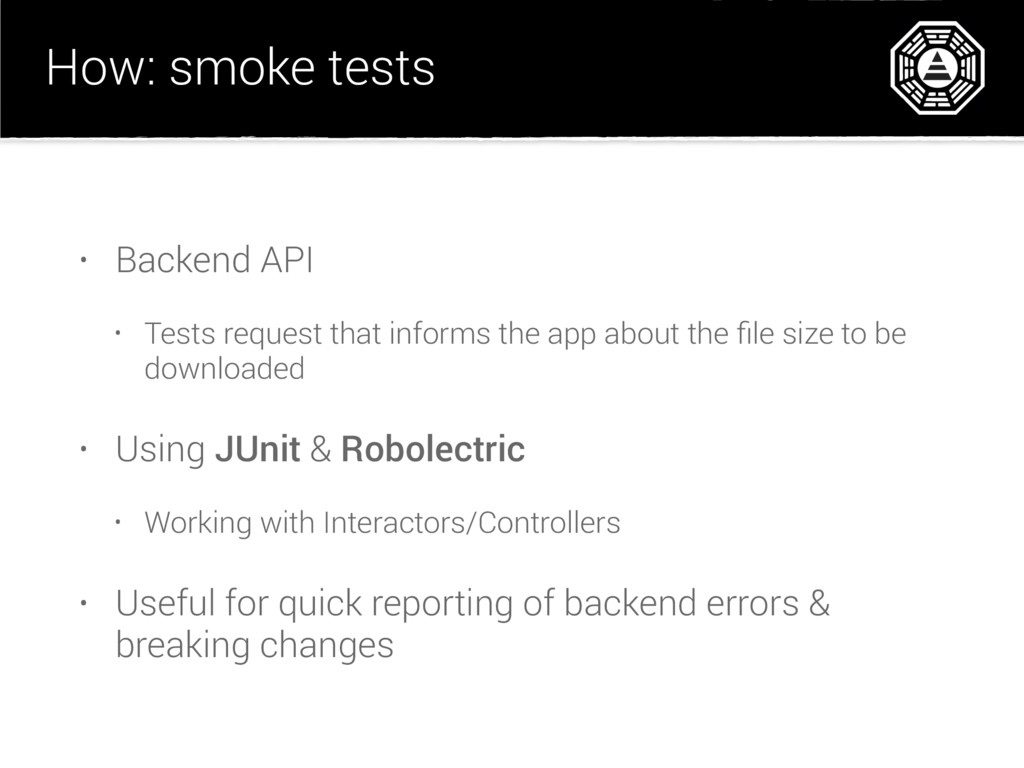 How: smoke tests • Backend API • Tests request ...
