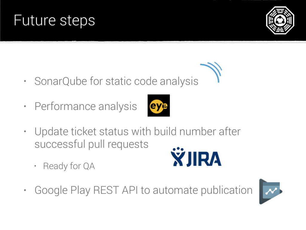 Future steps • SonarQube for static code analys...