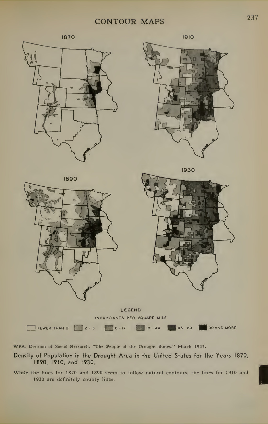 CONTOUR MAPS 1870 1910 237 1890 1930 LEGEND INH...