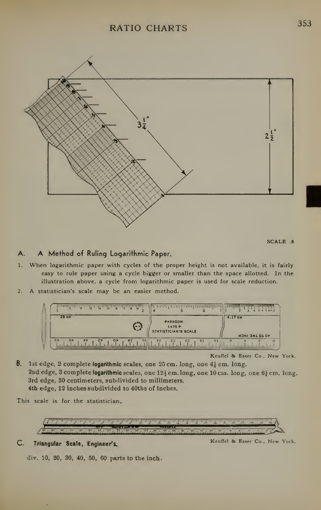 RATIO CHARTS 353 SCALE 8 A. A Method of Ruling ...