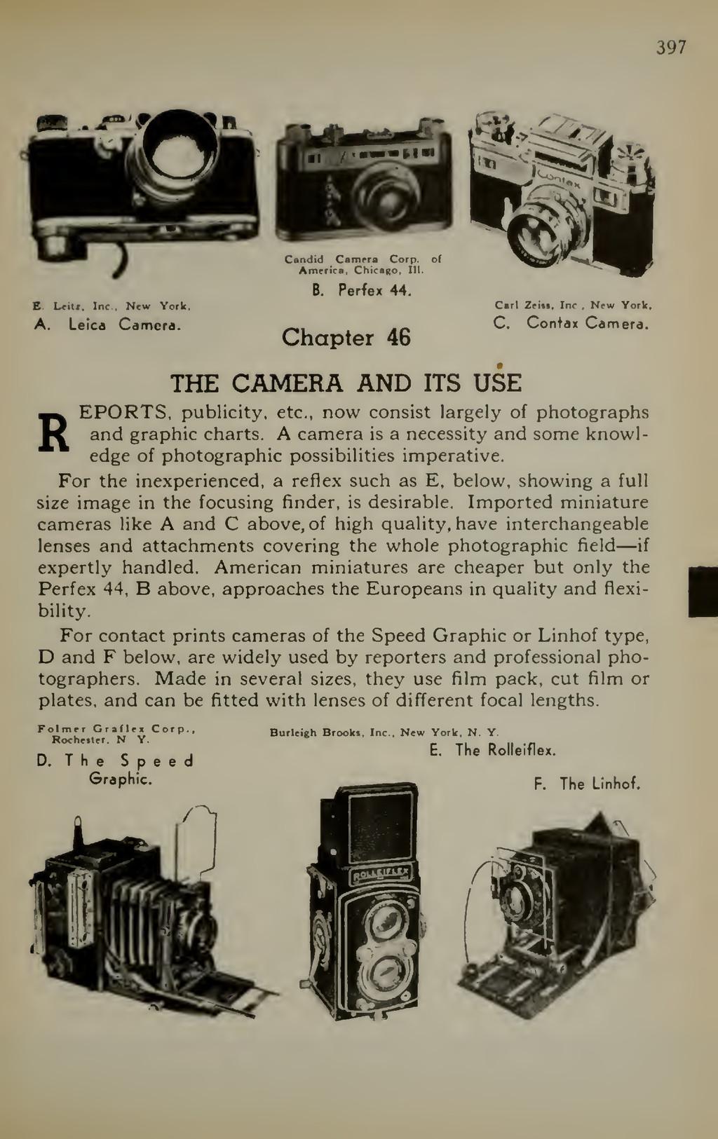 397 E Lcitr, Inc . Nfw York. A. Leica Camera. C...