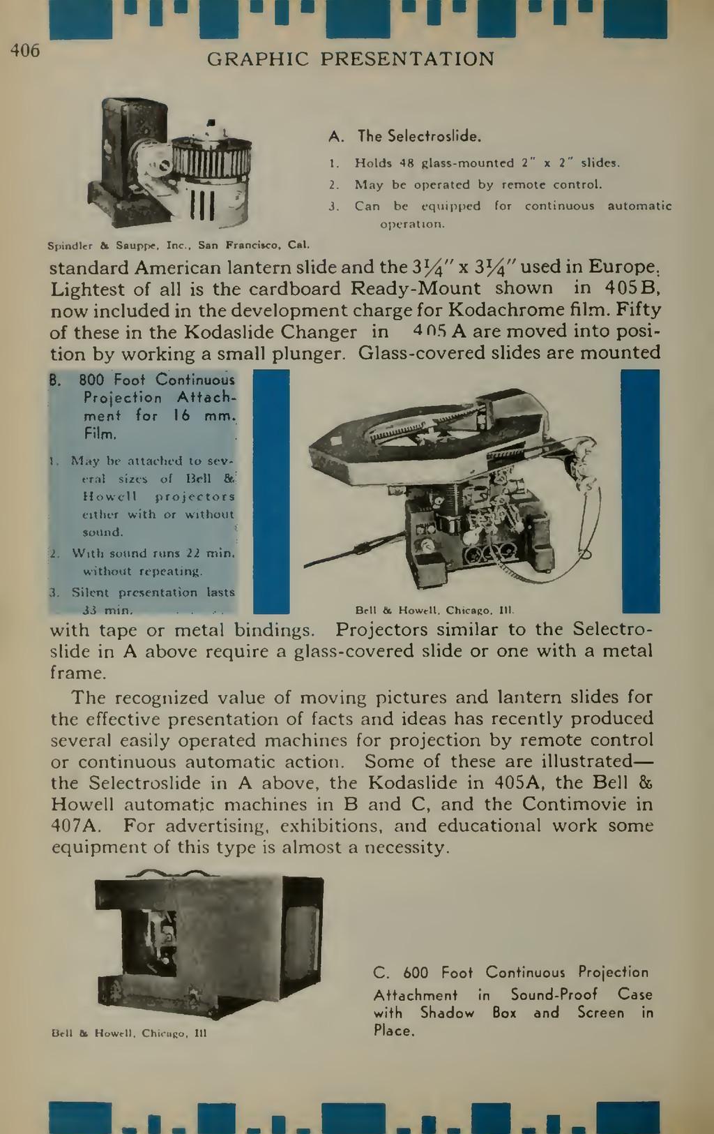 GRAPHIC PRESENTATION A. The Selectroslide. 1. H...