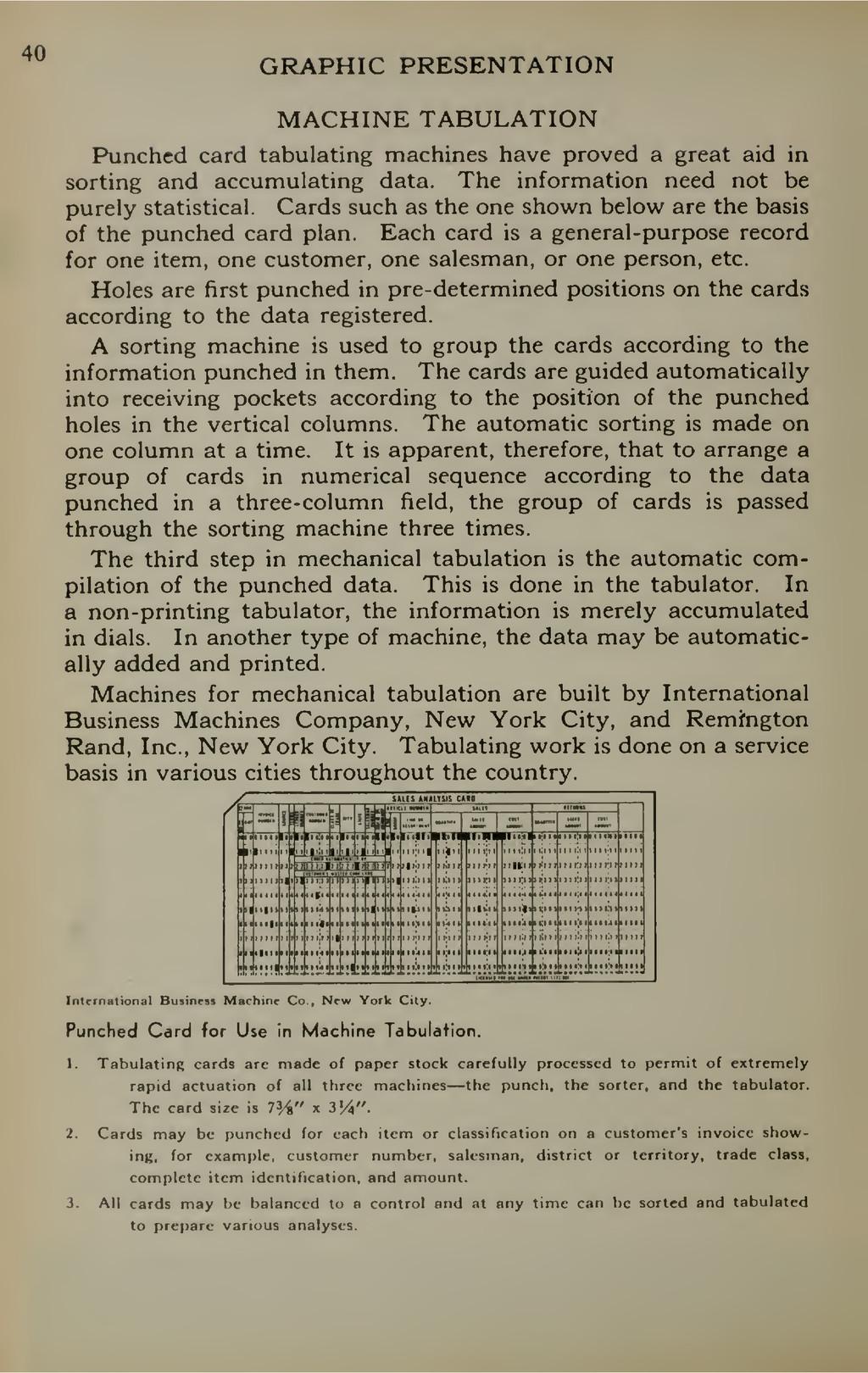 40 GRAPHIC PRESENTATION MACHINE TABULATION Punc...
