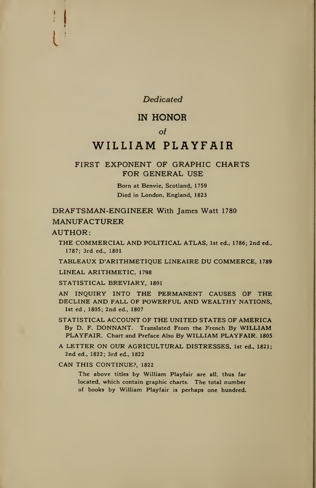 M Dedicated IN HONOR of WILLIAM PLAYFAIR FIRST ...