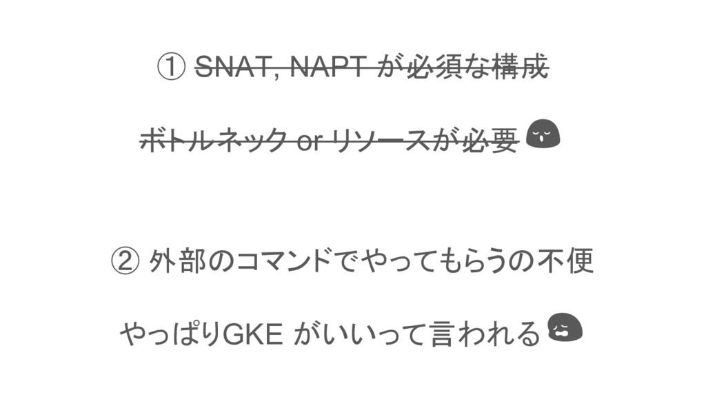 This is a slide title ① SNAT, NAPT が必須な構成 ボトルネッ...