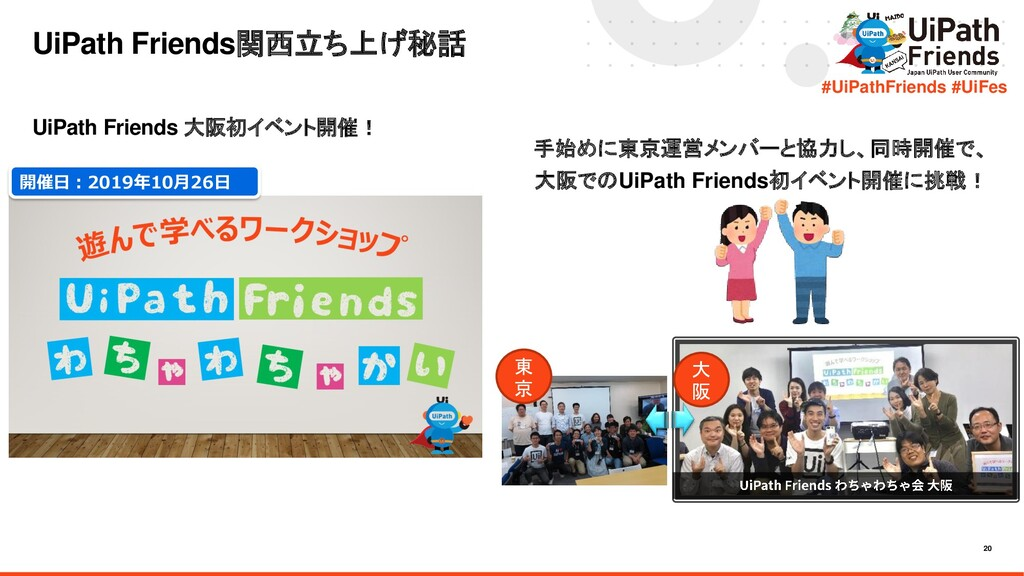 20 #UiPathFriends #UiFes UiPath Friends関西立ち上げ秘話...