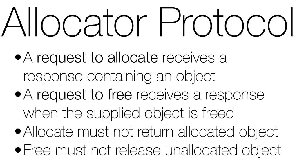 Allocator Protocol •A request to allocate recei...