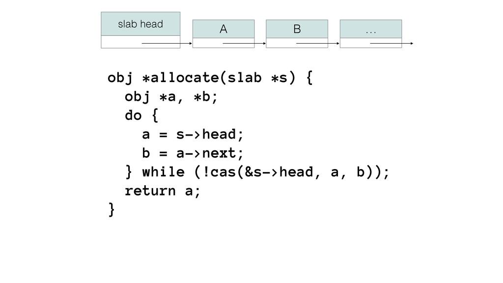 obj *allocate(slab *s) { obj *a, *b; do { a ...