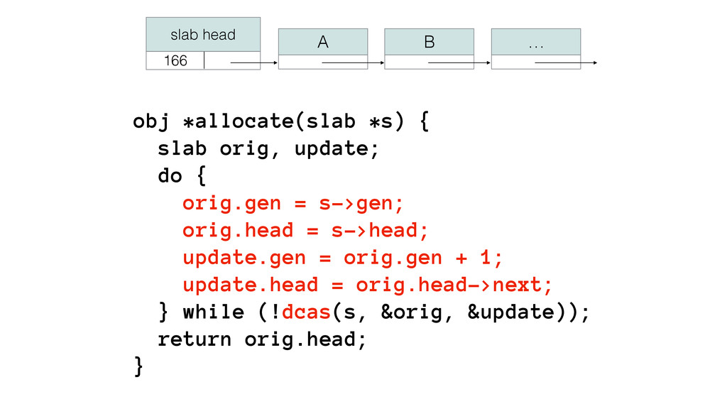 obj *allocate(slab *s) { slab orig, update; d...