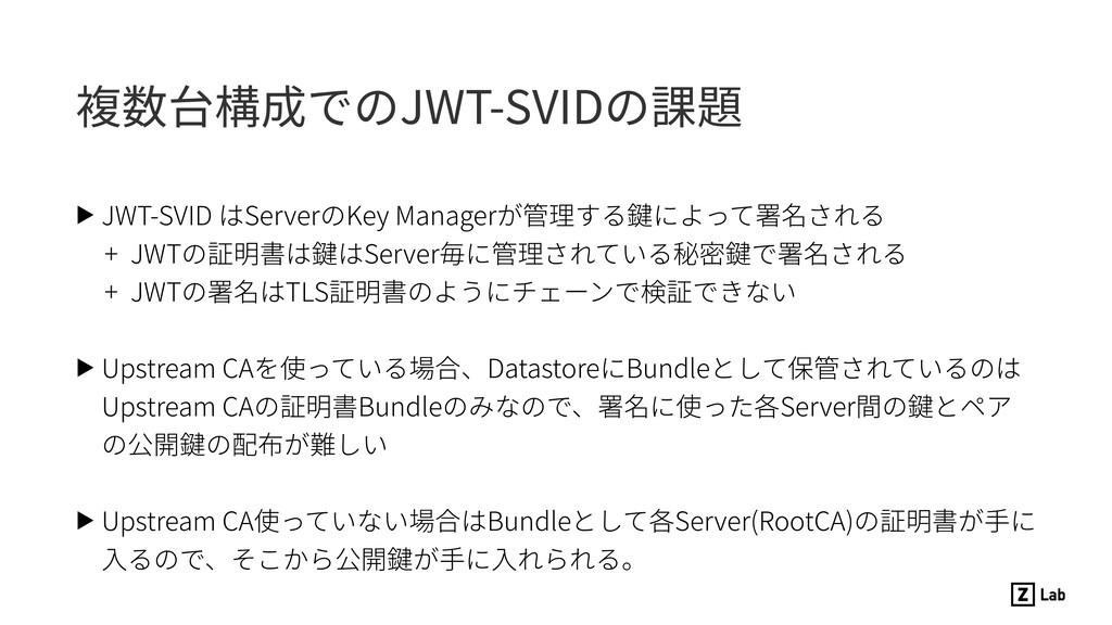 複数台構成でのJWT-SVIDの課題 ▶ JWT-SVID はServerのKey Manag...