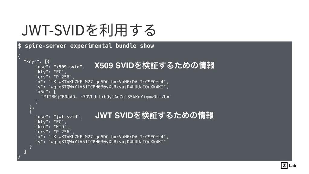 JWT-SVIDを利⽤する $ spire-server experimental bundl...