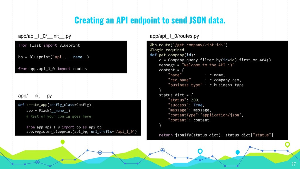 Creating an API endpoint to send JSON data. 17 ...
