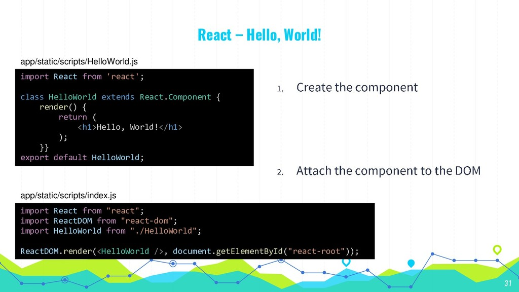 React – Hello, World! 31 import React from 'rea...