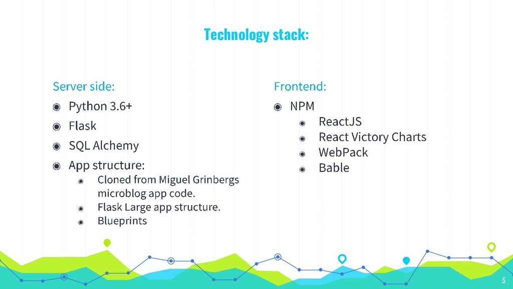 Technology stack: 5
