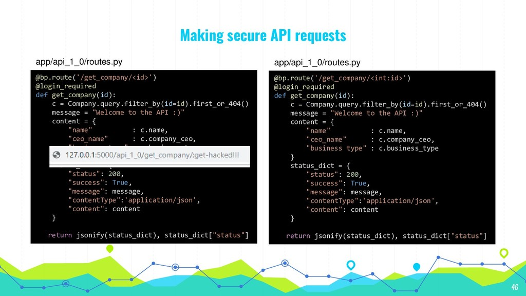 Making secure API requests 46 @bp.route('/get_c...