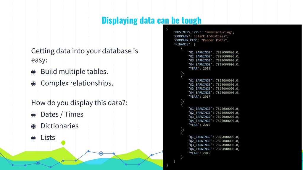 "Displaying data can be tough 7 { ""BUSINESS_TYPE..."