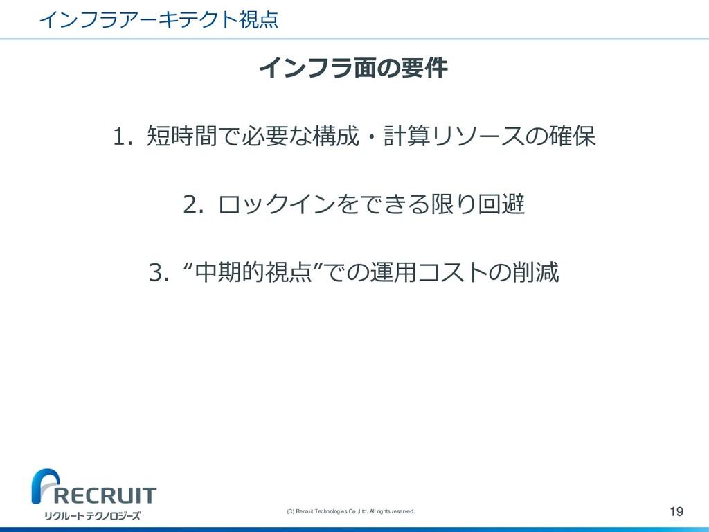 インフラアーキテクト視点 インフラ面の要件 1. 短時間で必要な構成・計算リソースの確保 2....