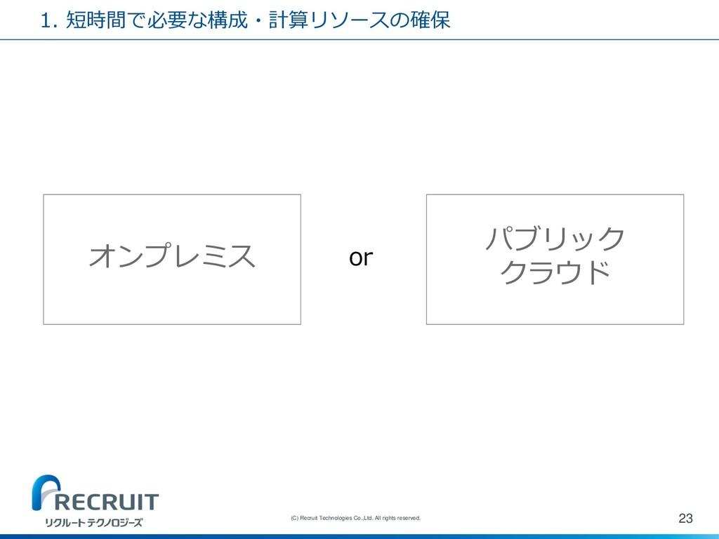 1. 短時間で必要な構成・計算リソースの確保 23 (C) Recruit Technolog...