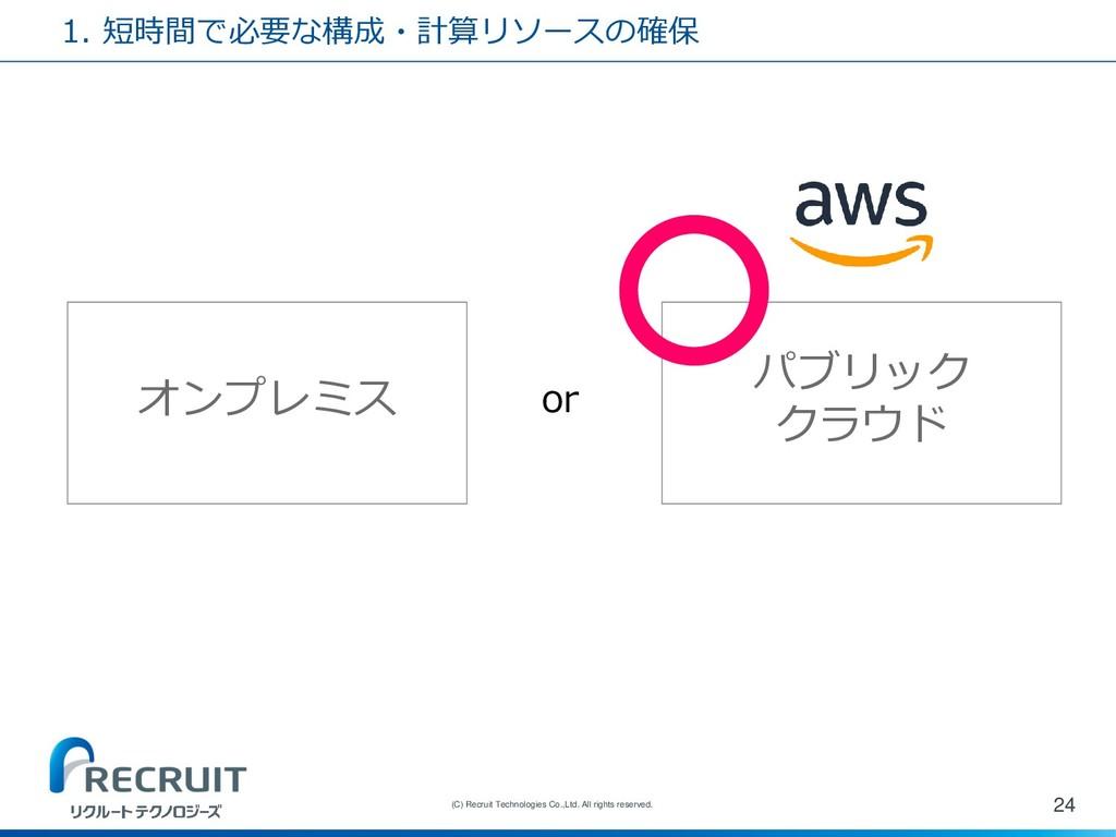 1. 短時間で必要な構成・計算リソースの確保 24 (C) Recruit Technolog...