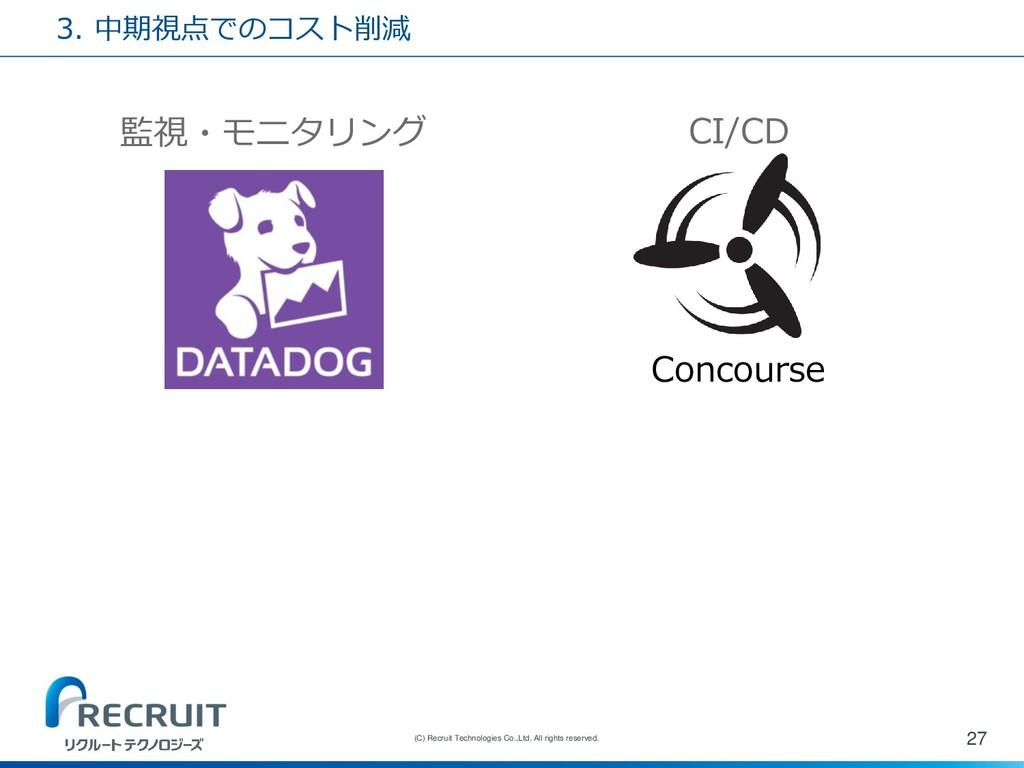 3. 中期視点でのコスト削減 27 (C) Recruit Technologies Co.,...