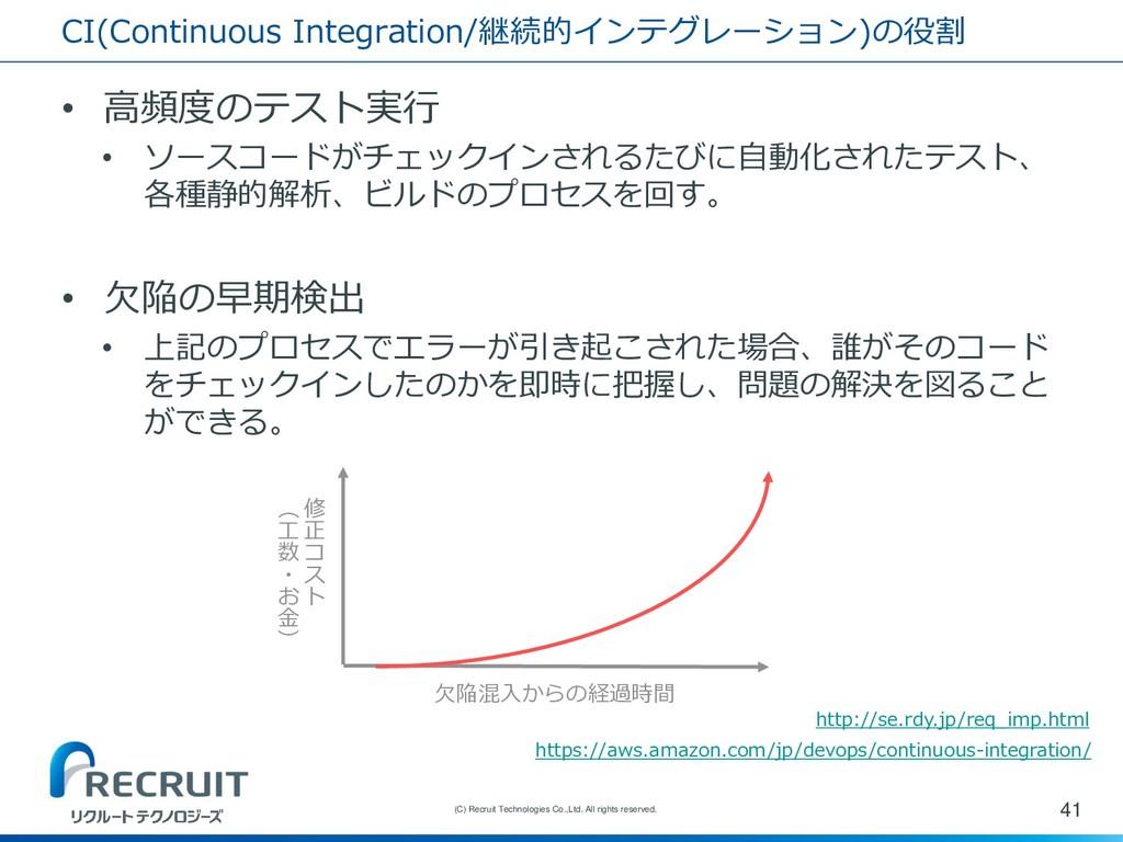 CI(Continuous Integration/継続的インテグレーション)の役割 • 高頻...