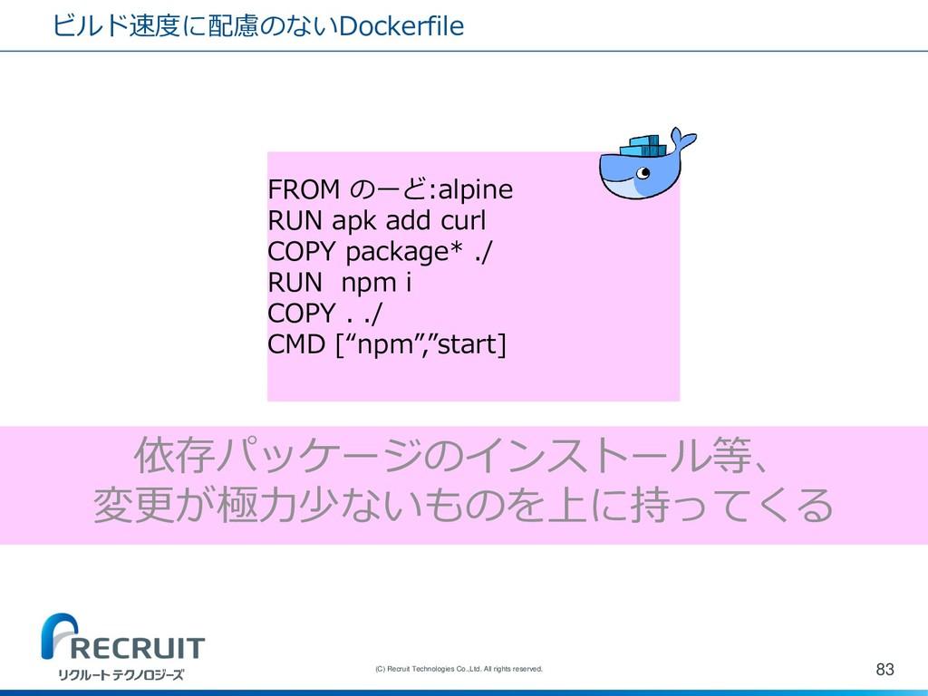 ビルド速度に配慮のないDockerfile 83 (C) Recruit Technologi...