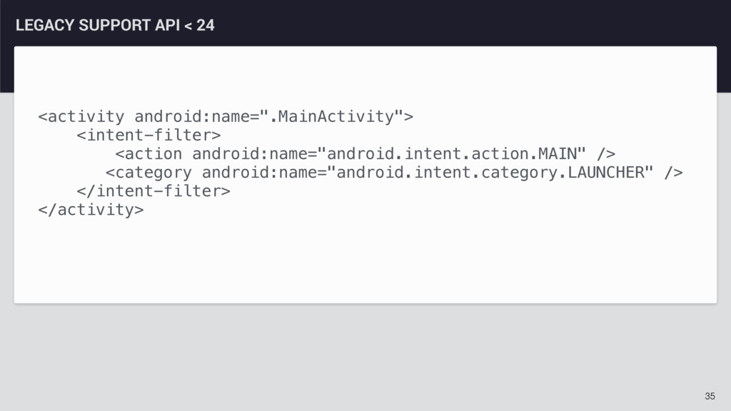 35 LEGACY SUPPORT API < 24 <activity android:na...