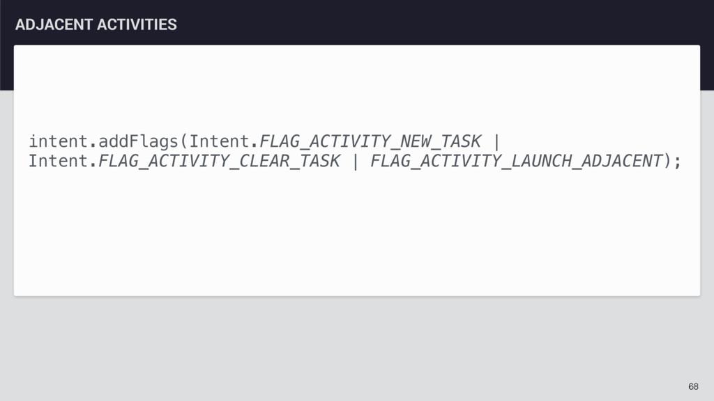 68 ADJACENT ACTIVITIES intent.addFlags(Intent.F...