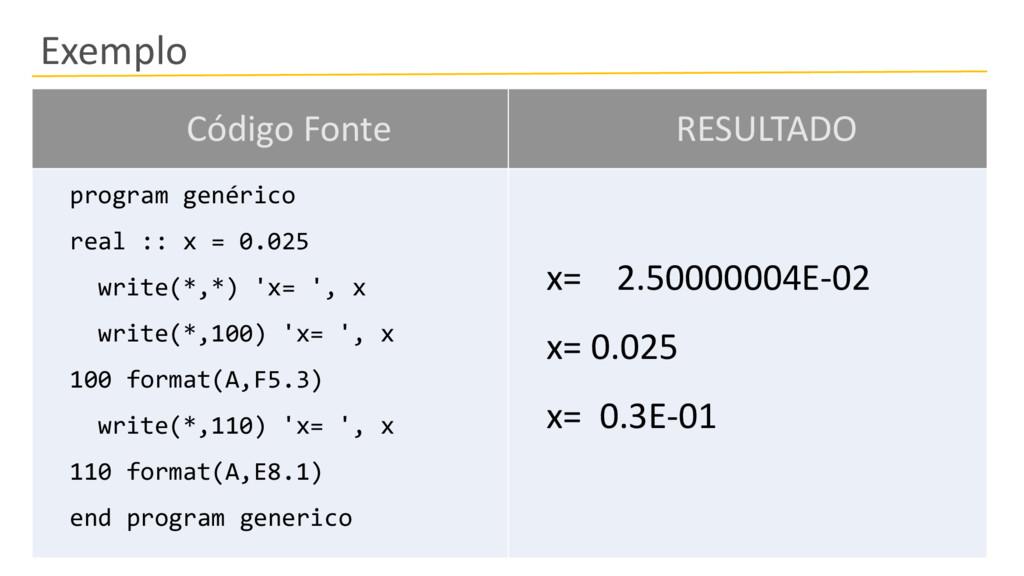 Exemplo Código Fonte RESULTADO program genérico...