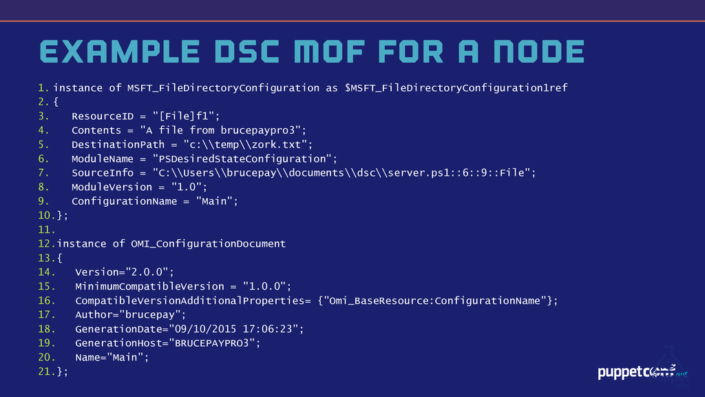 v Example DSC MOF for a Node 1. instance of MSF...