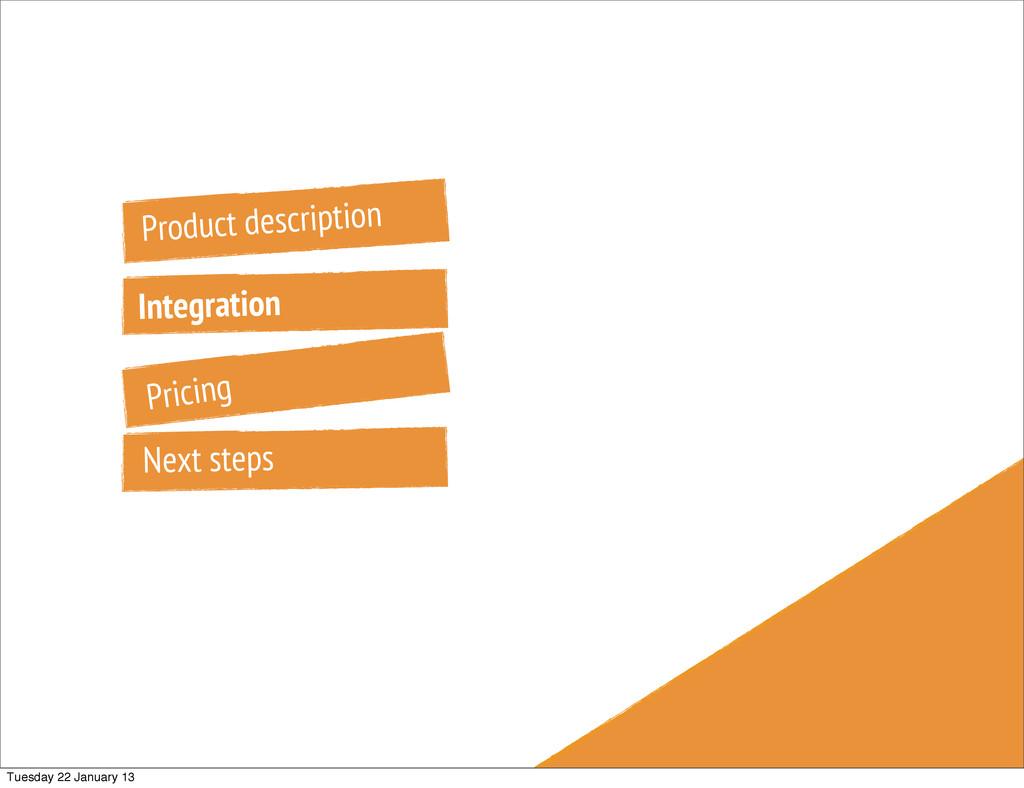 Product description Integration Pricing Next st...