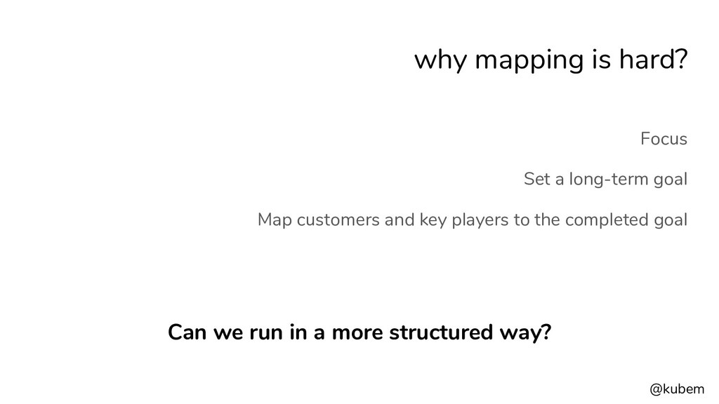@kubem why mapping is hard? Focus Set a long-te...