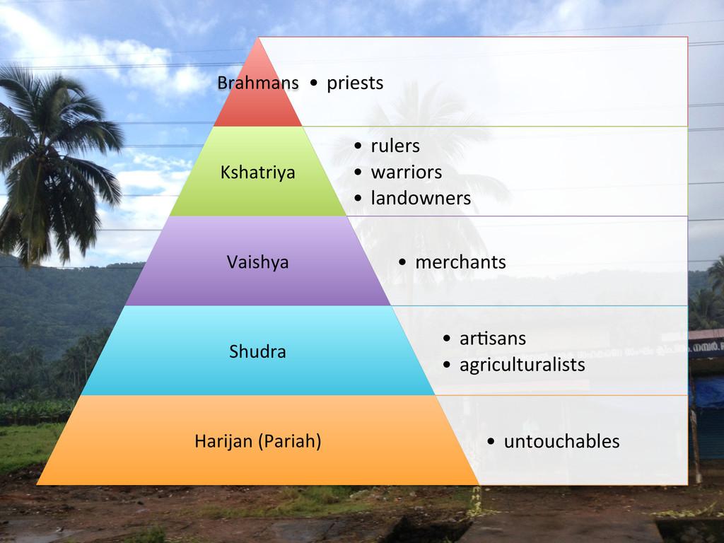 • priests   Brahmans  • rulers  •...
