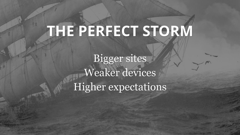 THE PERFECT STORM Bigger sites Weaker devices H...