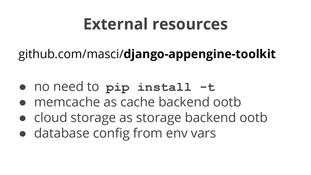External resources github.com/masci/django-appe...