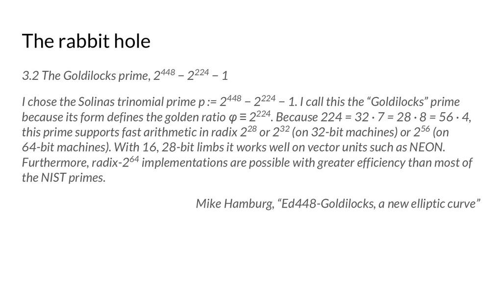 The rabbit hole 3.2 The Goldilocks prime, 2448 ...