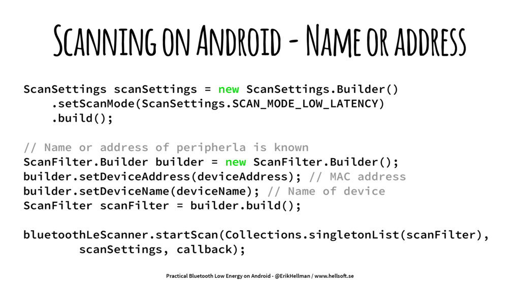 Scanning on Android - Name or address ScanSetti...