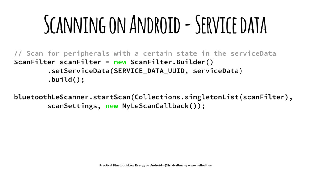 Scanning on Android - Service data // Scan for ...