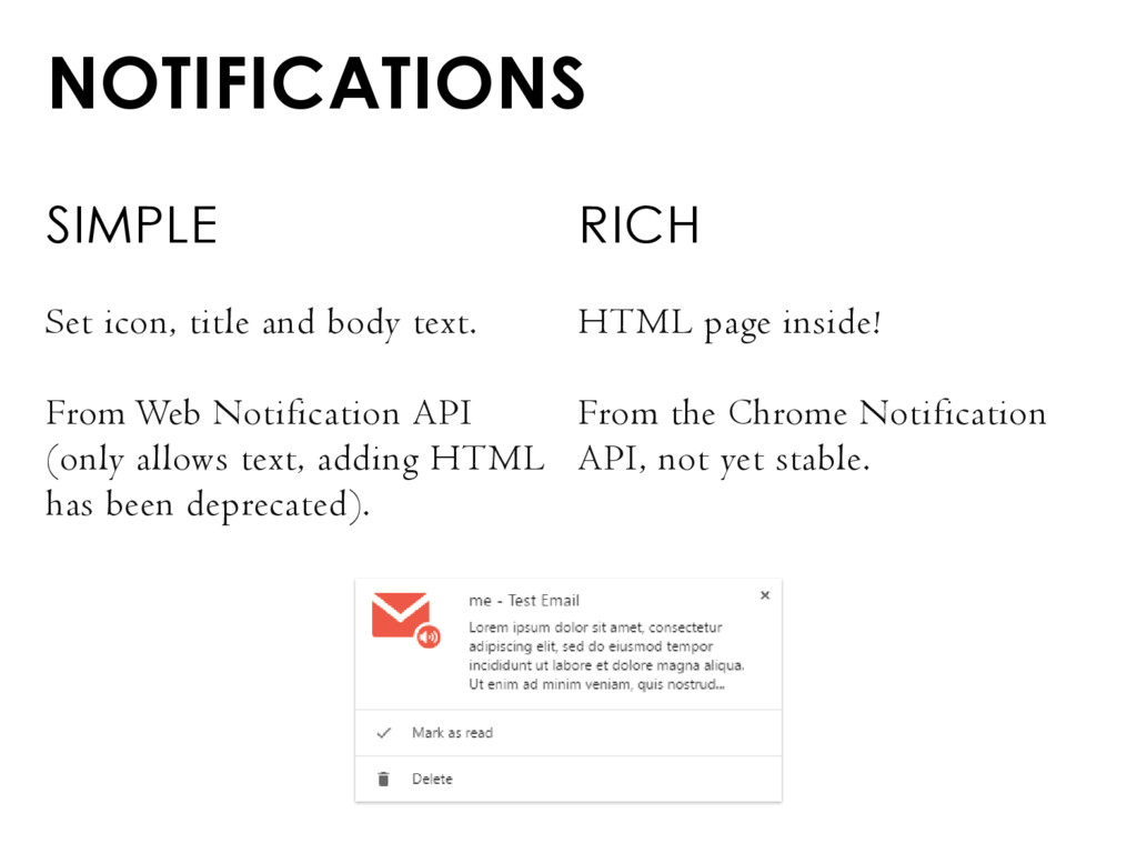 NOTIFICATIONS SIMPLE Set icon, title and body t...