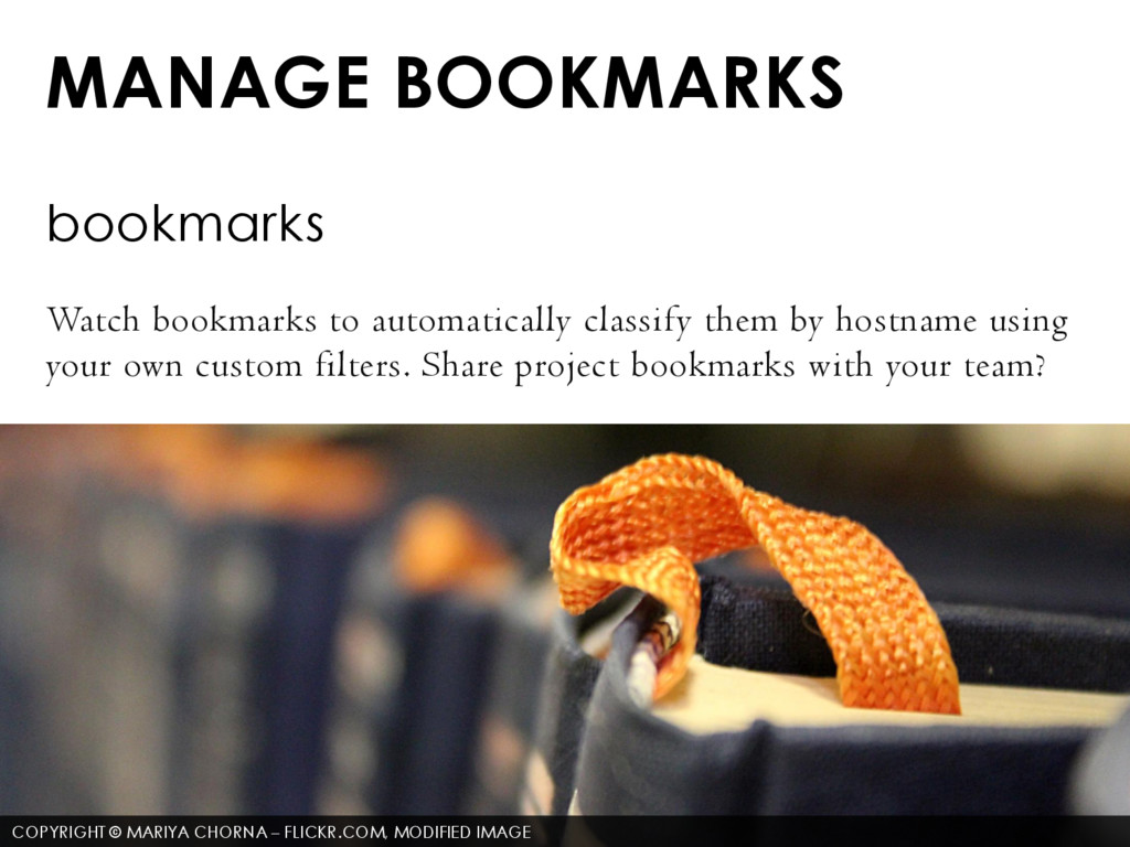 MANAGE BOOKMARKS bookmarks Watch bookmarks to a...