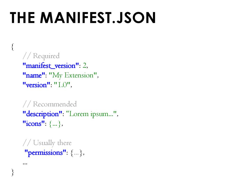 "THE MANIFEST.JSON { // Required ""manifest_versi..."