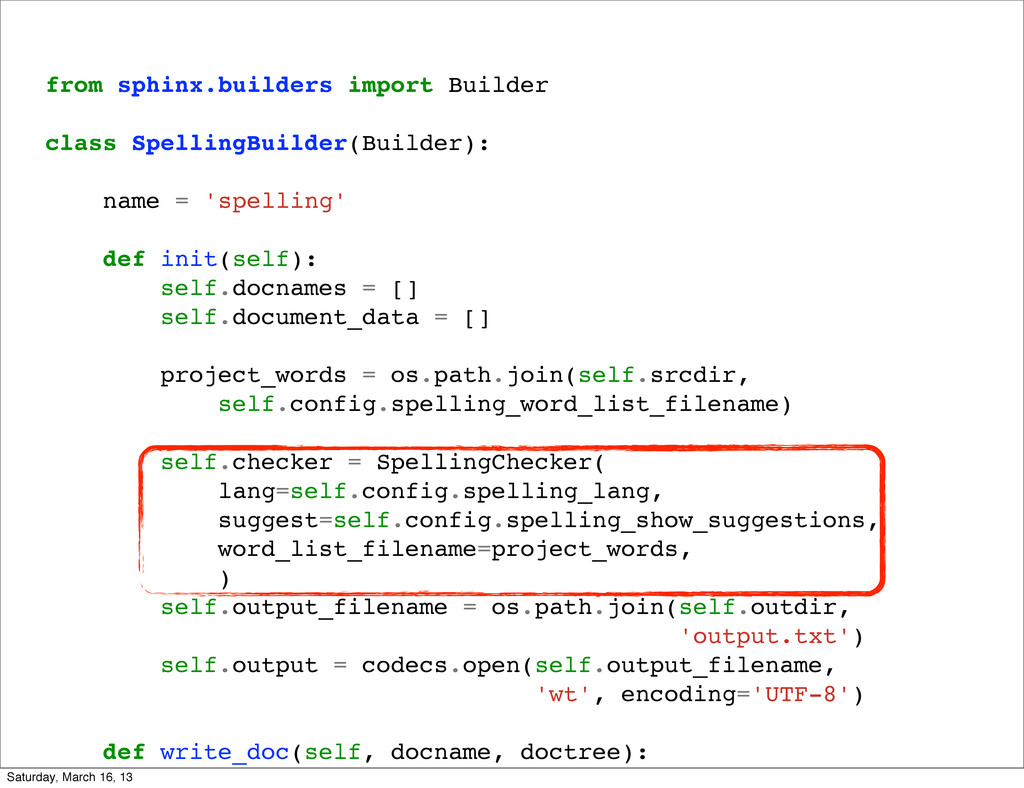 from sphinx.builders import Builder class Spell...