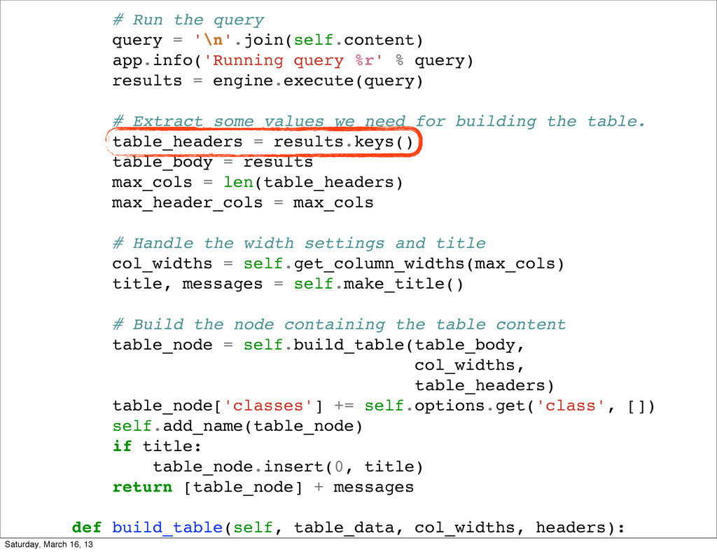 # Run the query query = '\n'.join(self.content)...