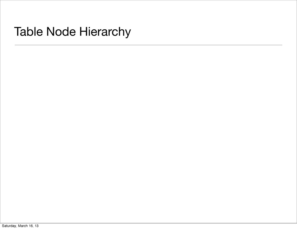 Table Node Hierarchy Saturday, March 16, 13