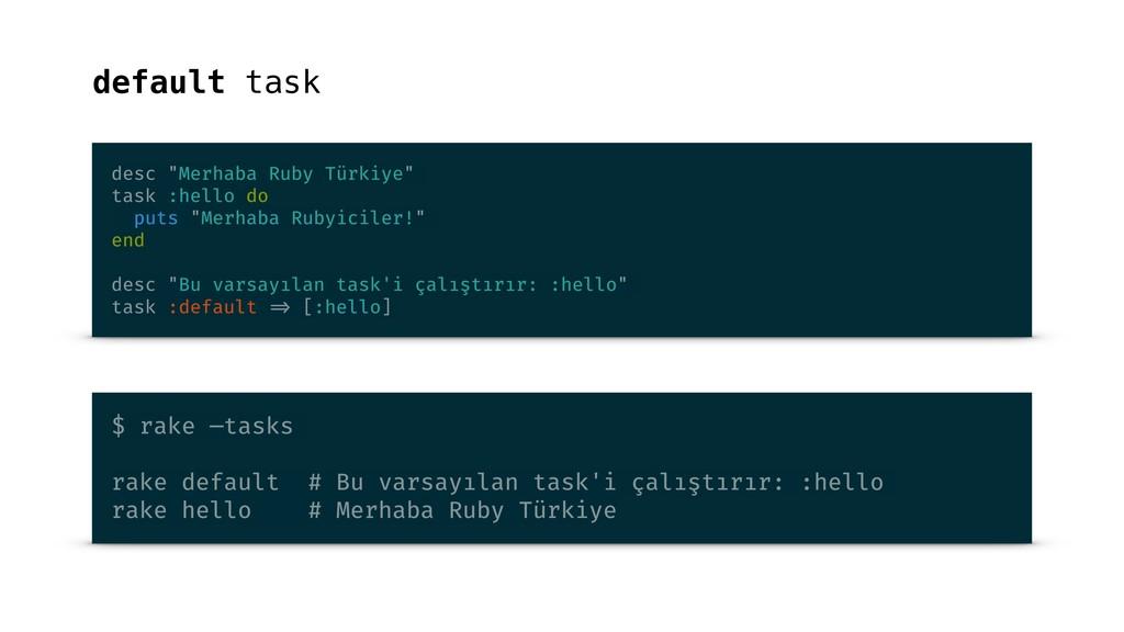 """default task desc """"Merhaba Ruby Türkiye"""" task :..."""